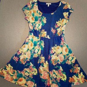 Delia's Navy Blue Floral Skater Dress